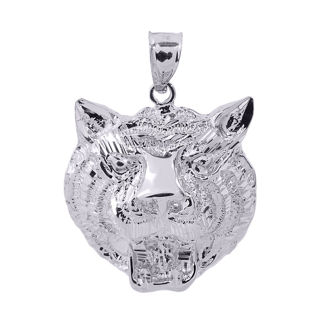 White Gold Diamond Cut Tiger Head Charm Pendant