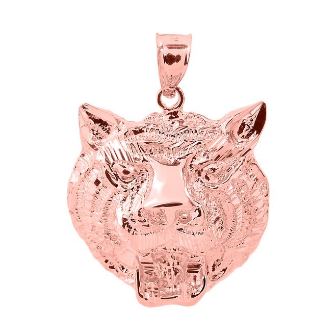 Rose Gold Diamond Cut Tiger Head Charm Pendant
