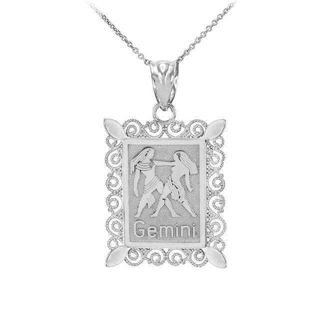 White Gold Gemini Zodiac Sign Filigree Square Pendant Necklace