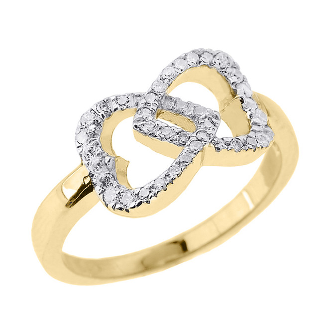 Yellow Gold CZ Infinity Double Heart Promise Ring
