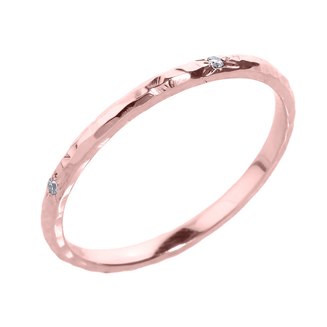 Rose Gold 2 mm Hammered Stackable Diamond Ring