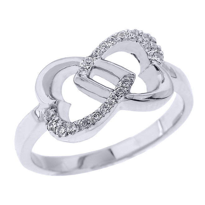 Sterling Silver Infinity Double Heart CZ Promise Ring