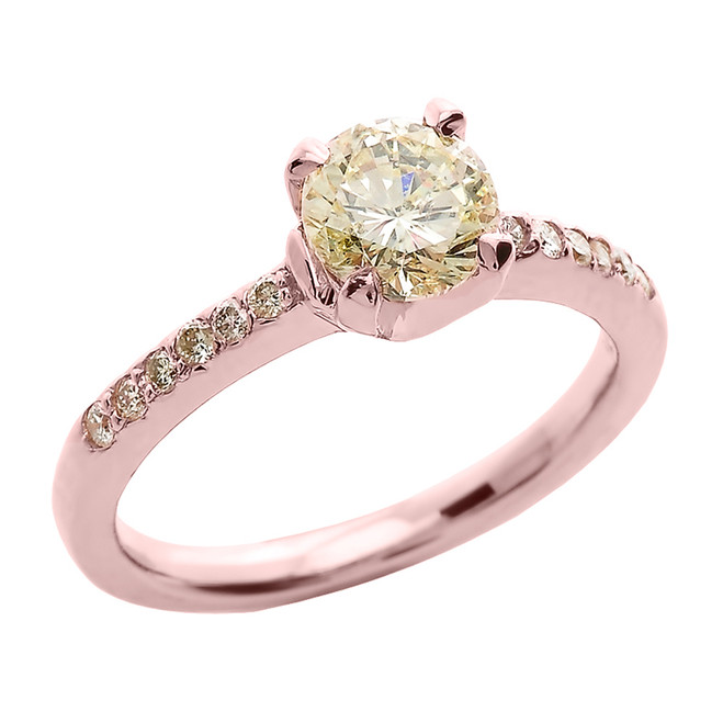 14k Rose Gold 1.0 ct Diamond Engagement Solitaire Ring