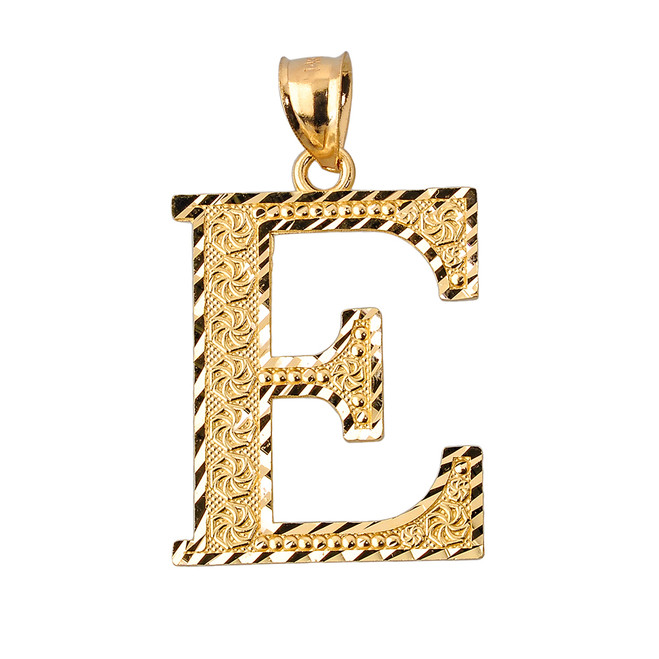 Initial E Gold Charm Pendant