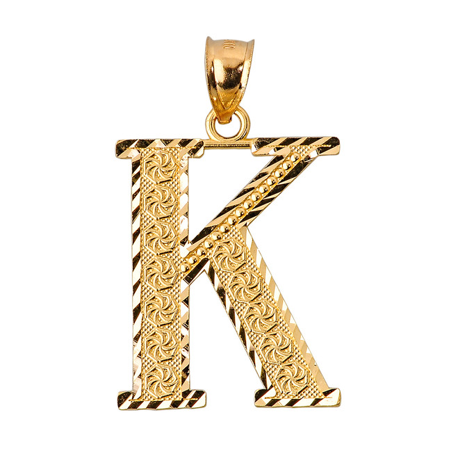 Initial K Gold Charm Pendant