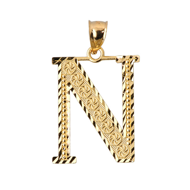 Initial N Gold Charm Pendant