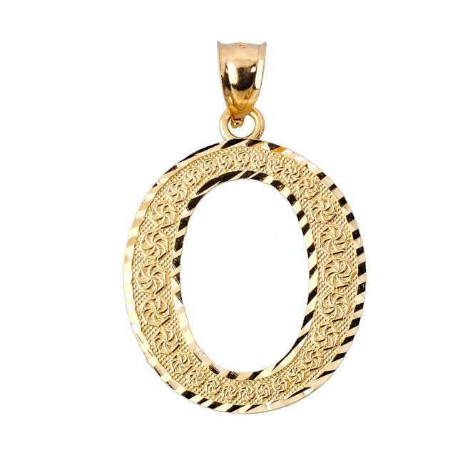 Initial O Gold Charm Pendant