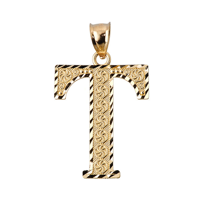 Initial T Gold Charm Pendant