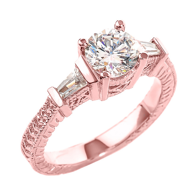 Rose Gold Three Stone CZ Elegant Proposal Ring