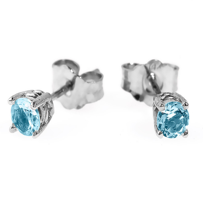 14K White Gold 4 Prongs Light Blue Aquamarine Stud Earrings