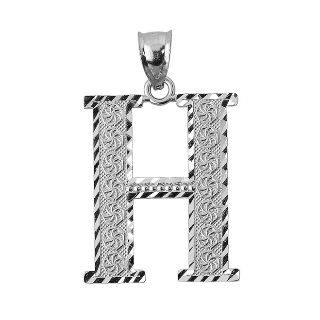 Initial H White Gold Charm Pendant