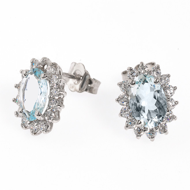14K White Gold Diamond and Light Blue Aquamarine Stud Earrings