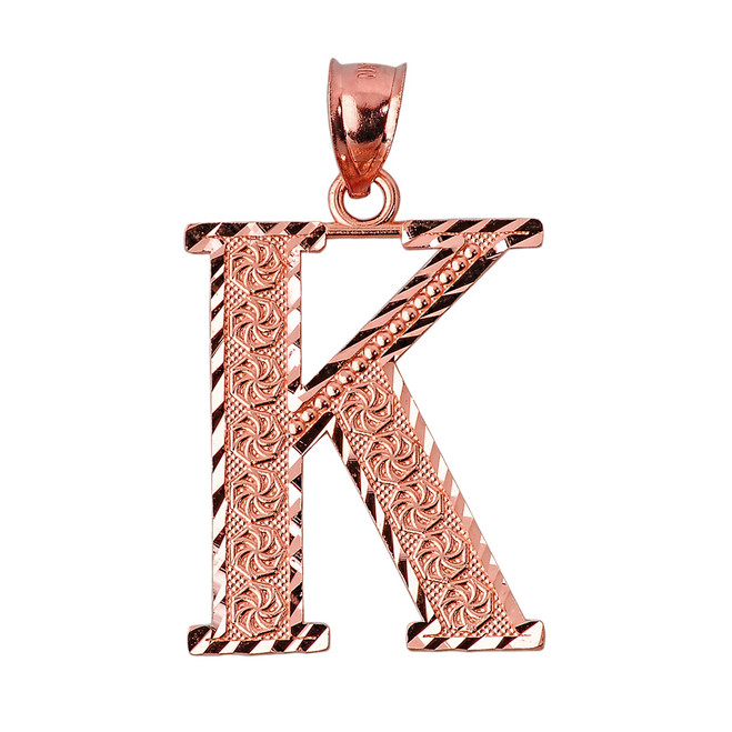 Initial K Rose Gold Charm Pendant