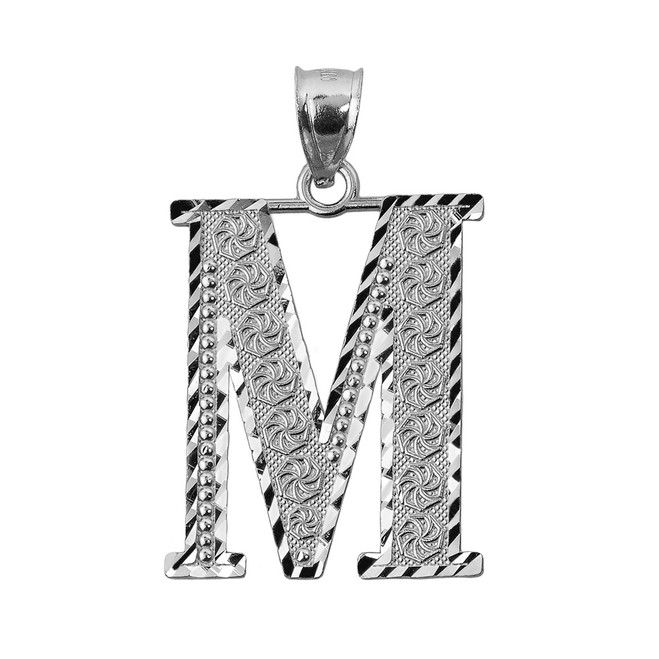 Initial M White Gold Charm Pendant
