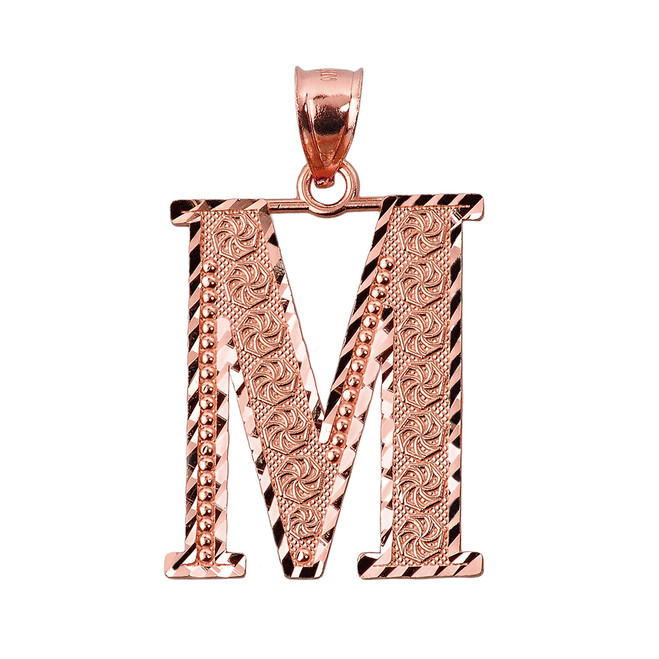 Initial M Rose Gold Charm Pendant