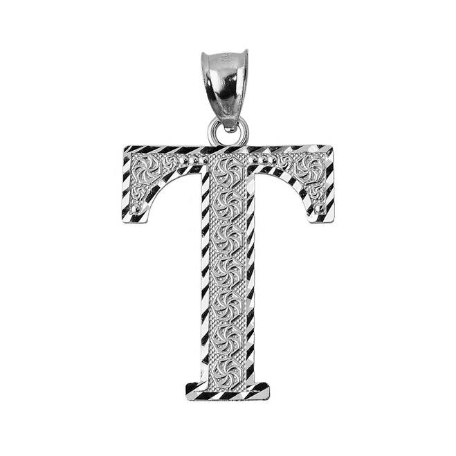 Initial T White Gold Charm Pendant