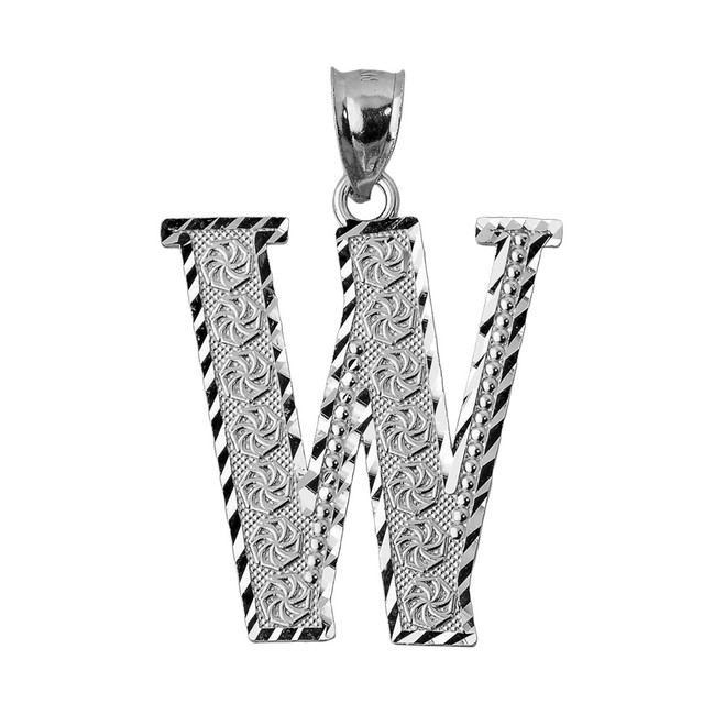 Initial W White Gold Charm Pendant