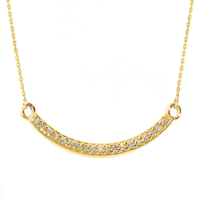 14k Yellow Gold Smiley Face Curved Diamond Necklace