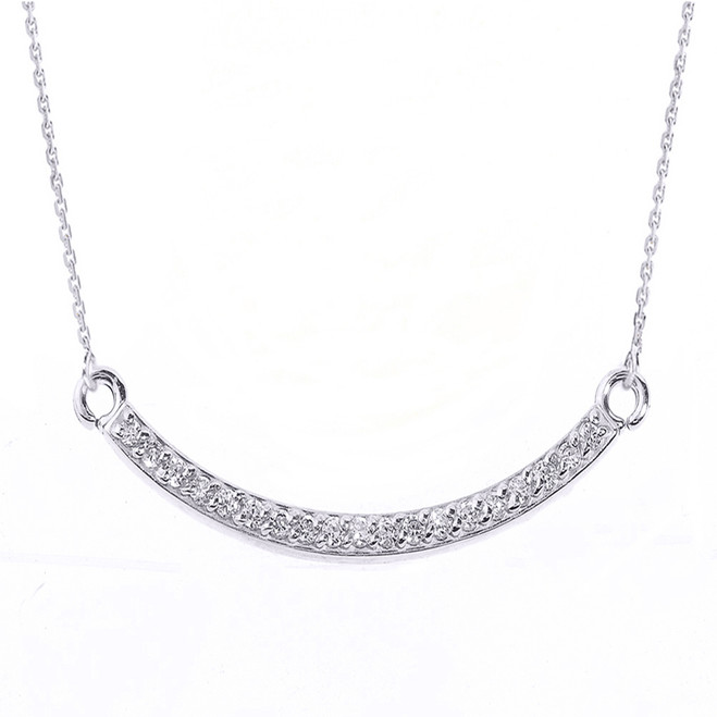 14k White Gold Smiley Face Curved Diamond Necklace