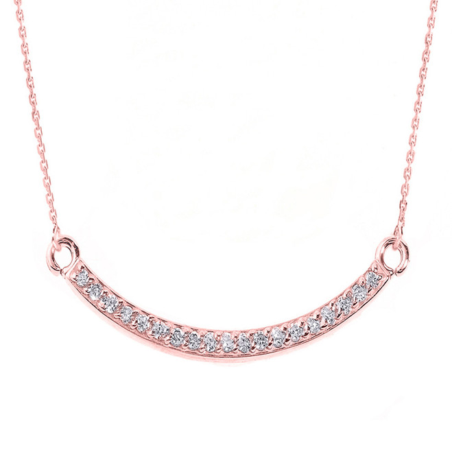 14k Rose Gold Smiley Face Curved Diamond Necklace