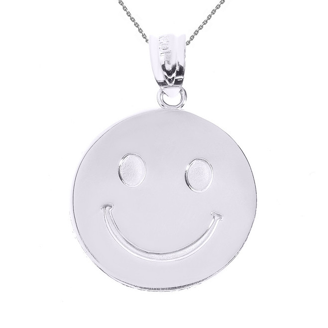 White Gold Smiley Face Disc Pendant Necklace