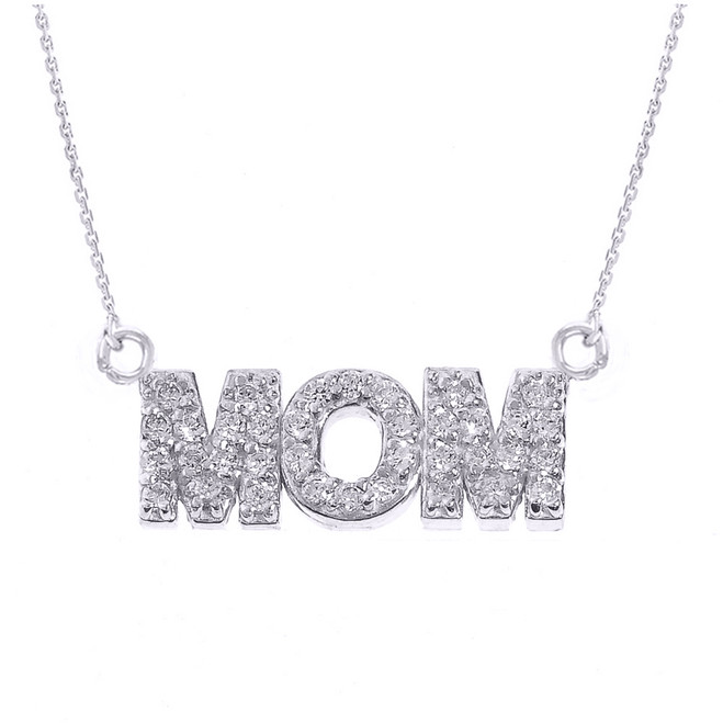 "14 White Gold ""MOM"" Diamond Pendant Necklace"
