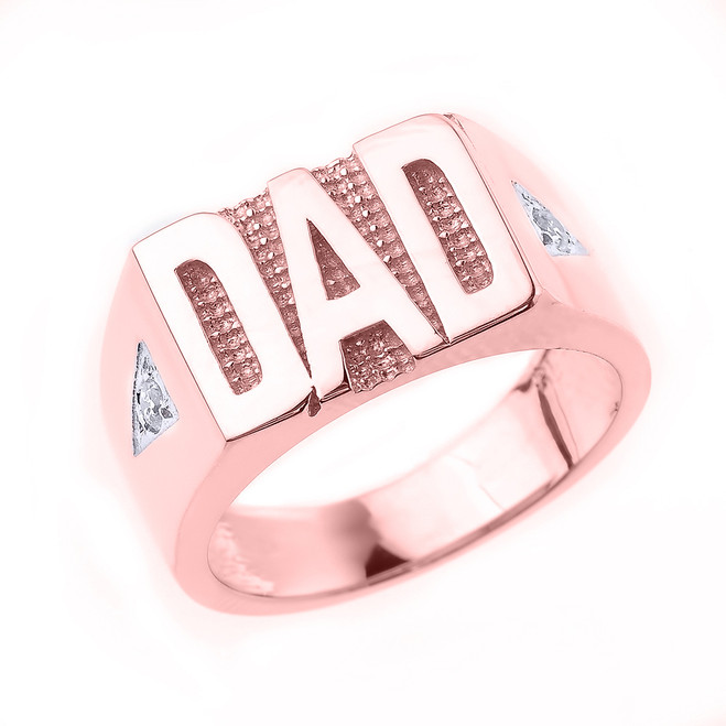 "Solid Rose Gold Diamond ""DAD"" Men's Ring"