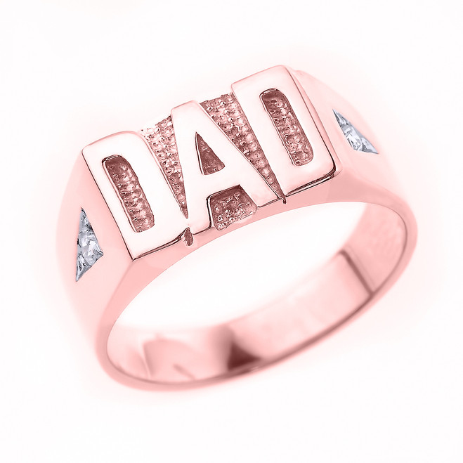 "Rose Gold Diamond ""DAD"" Men's Ring"