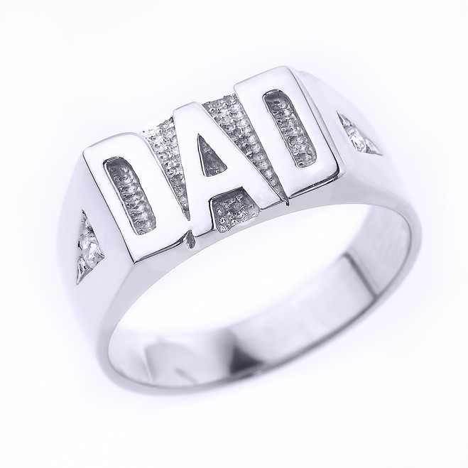 "Sterling Silver Diamond ""DAD"" Men's Ring"