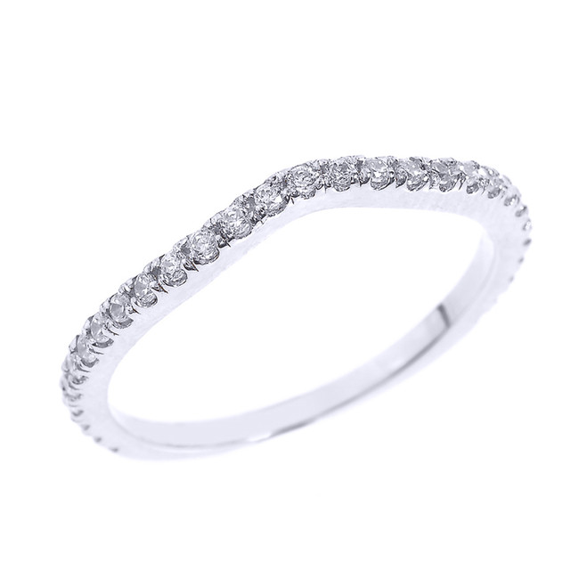 14k White Gold Chevron Stackable CZ Wedding Band