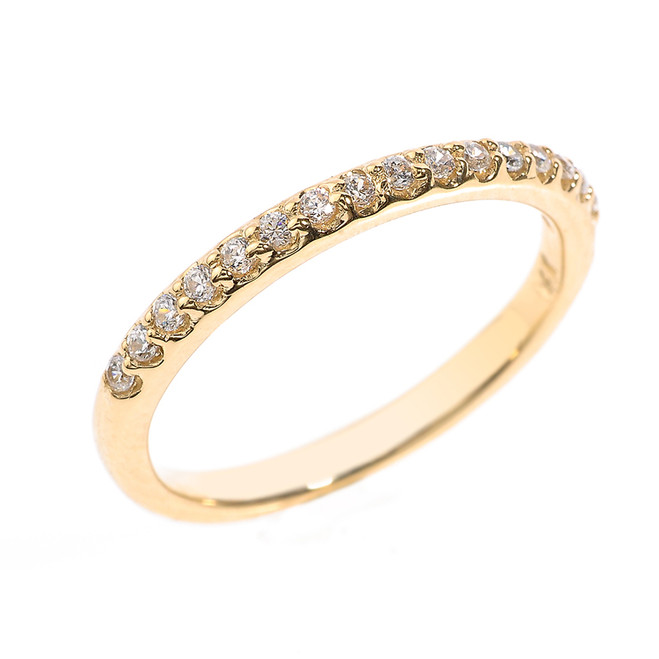 14k Yellow Gold CZ Stackable Wedding Band