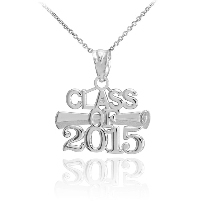 "White Gold ""CLASS OF 2015"" Graduation Charm Pendant Necklace"