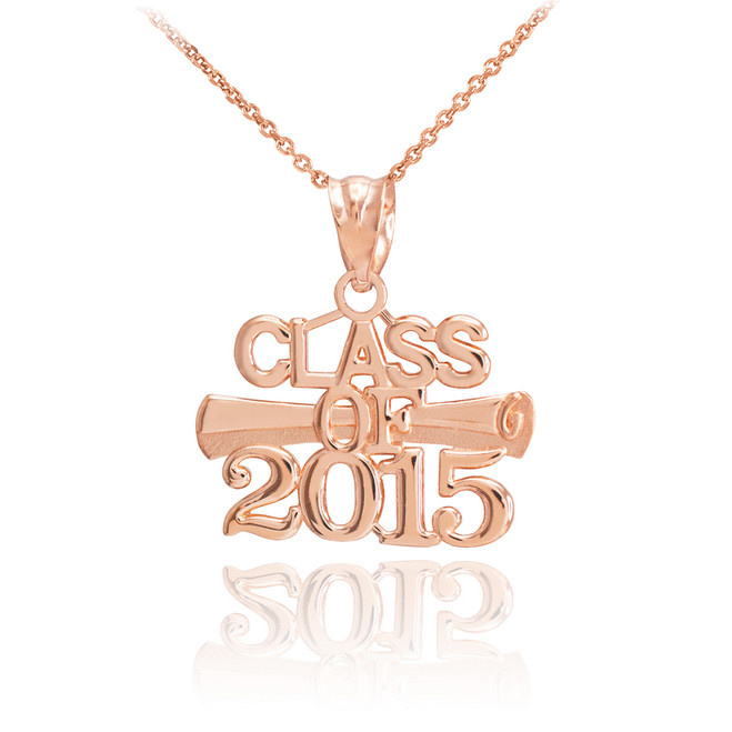 "Rose Gold ""CLASS OF 2015"" Graduation Charm Necklace"