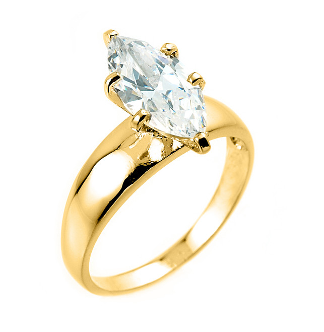 Yellow Gold Marquise CZ Solitaire Engagement Ring