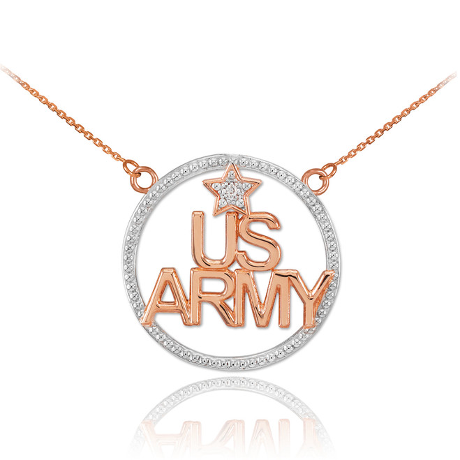 14K Two-Tone Rose Gold 'US ARMY' Diamond Necklace