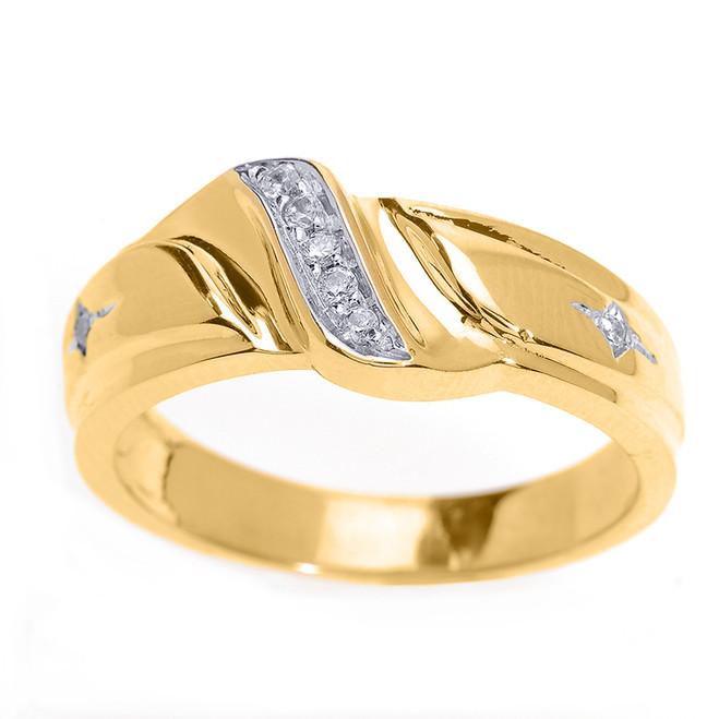 Men's Diamond Wedding Band in Yellow Gold
