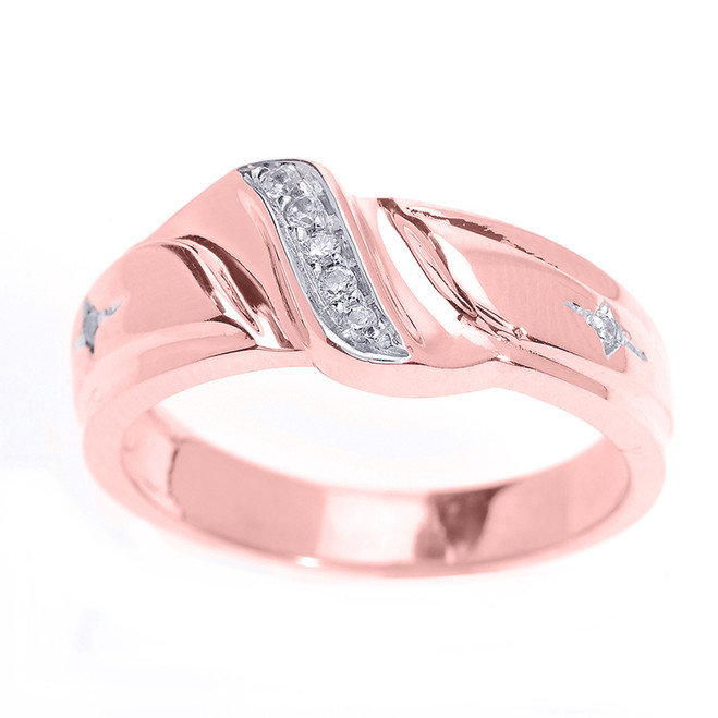 Men's Diamond Wedding Band in Rose Gold