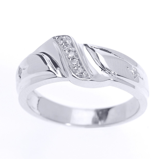 Men's Diamond Wedding Band in Fine Sterling Silver