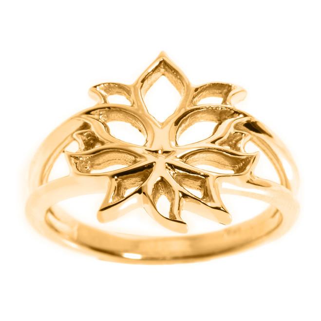 Yellow Gold Lotus Blossom Flower Ladies Ring