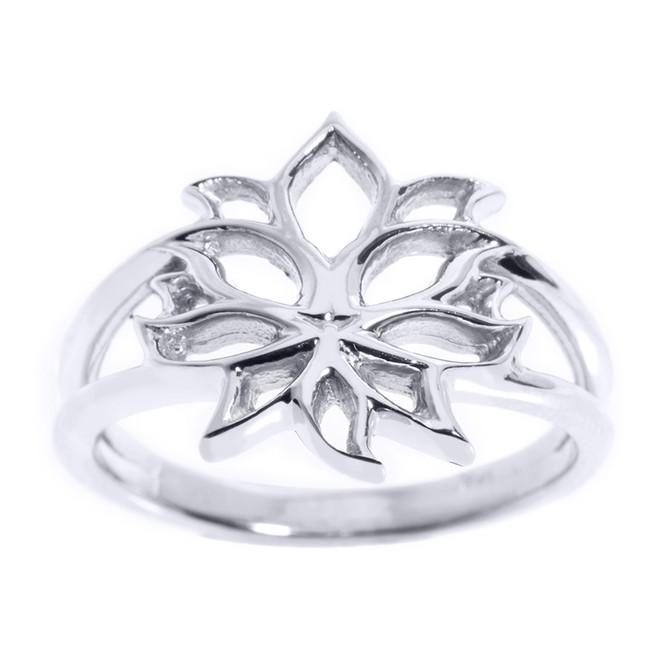 White Gold Lotus Blossom Flower Ladies Ring