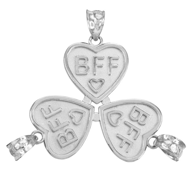 3pc Sterling Silver 'BFF' Heart Pendant Set