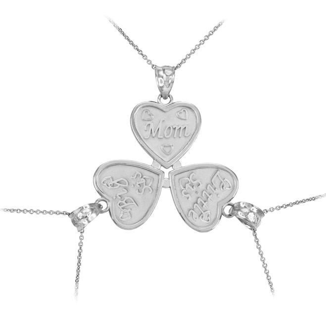 3pc White Gold 'Mom' 'Big Sis' 'Little Sis' Heart Pendant Necklace Set
