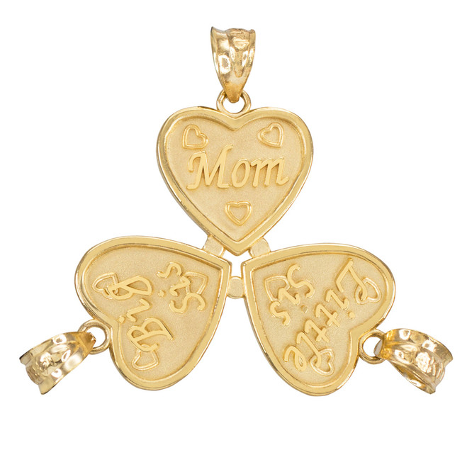 3pc Gold 'Mom' 'Big Sis' 'Little Sis' Heart Pendant Set