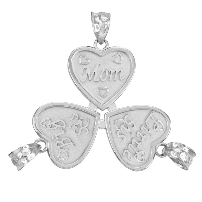 3pc Sterling Silver 'Mom' 'Big Sis' 'Little Sis' Heart Pendant Set