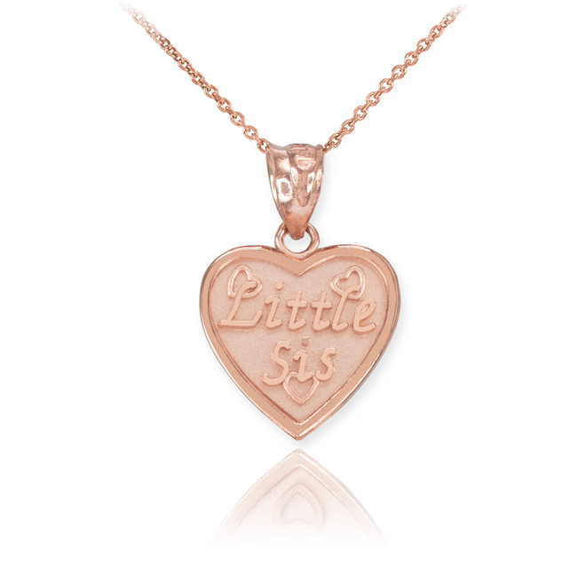 Rose Gold 'LITTLE SIS' Heart Pendant Necklace