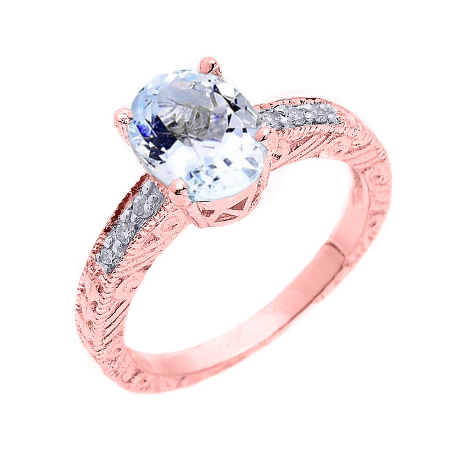 Rose Gold Art Deco Aquamarine and Diamond Proposal Ring