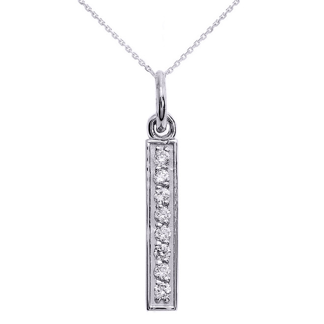 14k White Gold Vertical Bar Diamond Necklace