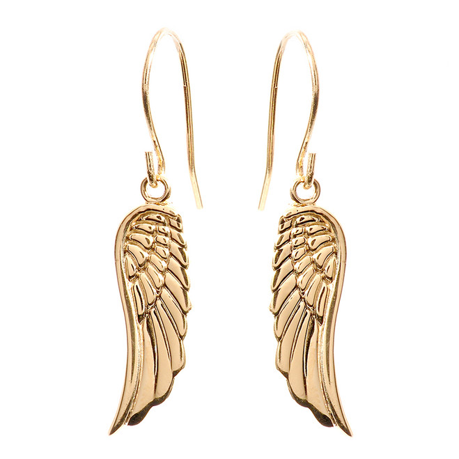 Yellow Gold Angel Wings Earrings