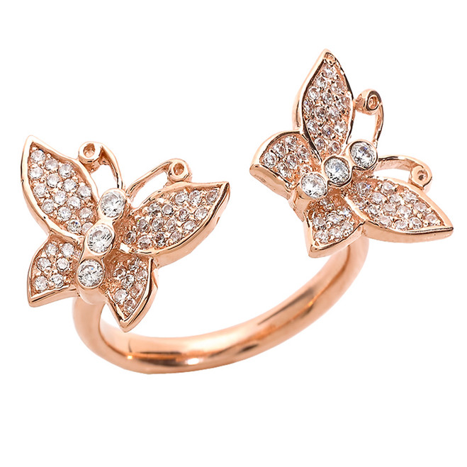 14k Rose Gold Diamonds Studded Double Butterfly Ladies Ring