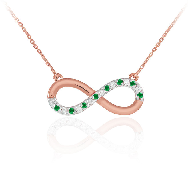 14K Rose Gold Emerald and Diamond Infinity Necklace